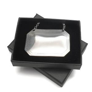 Hand Made Pewter Oblong Decanter Label in Gift Box