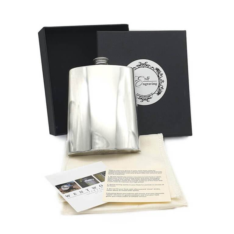6oz hand Made Pewter Hip Flask with Gift Box