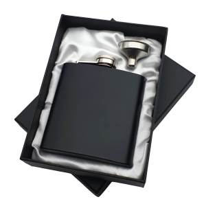 Black Hip Flask in White Satin Lined Box