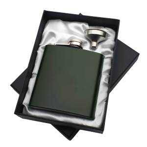 Green Hip Flask in White Satin Lined Gift Box