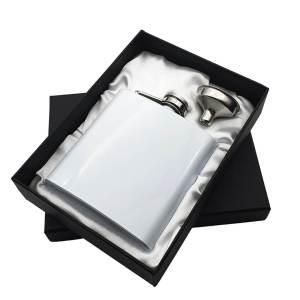 White Hip Flask in Presentation Box