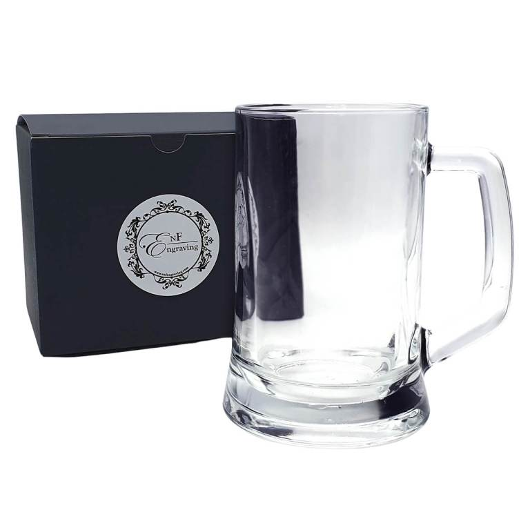 Personalised Glass Tankard with EnF Engraving Gift Box