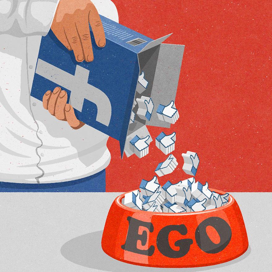 Caja con likes de facebook llenando el recipiente del ego