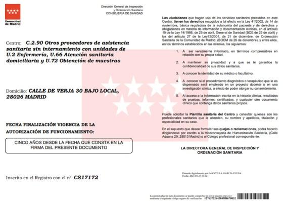 Certificado Madrid