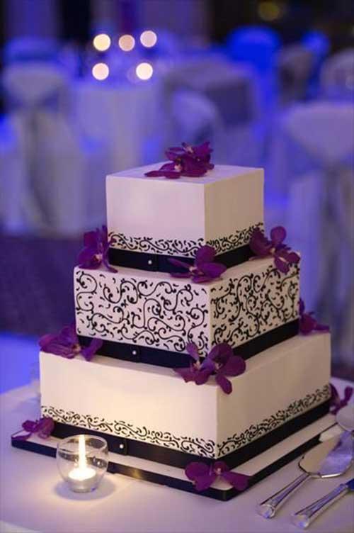 35 Modelos de Bolo de Casamento Quadrado Fotos