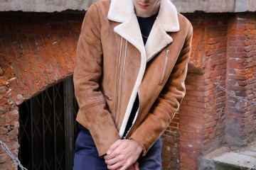 LOOK V: Keving wearing the shearling coat