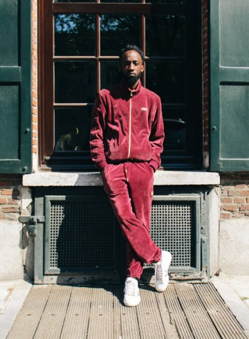 LOOK XXXII: red velour tracksuit