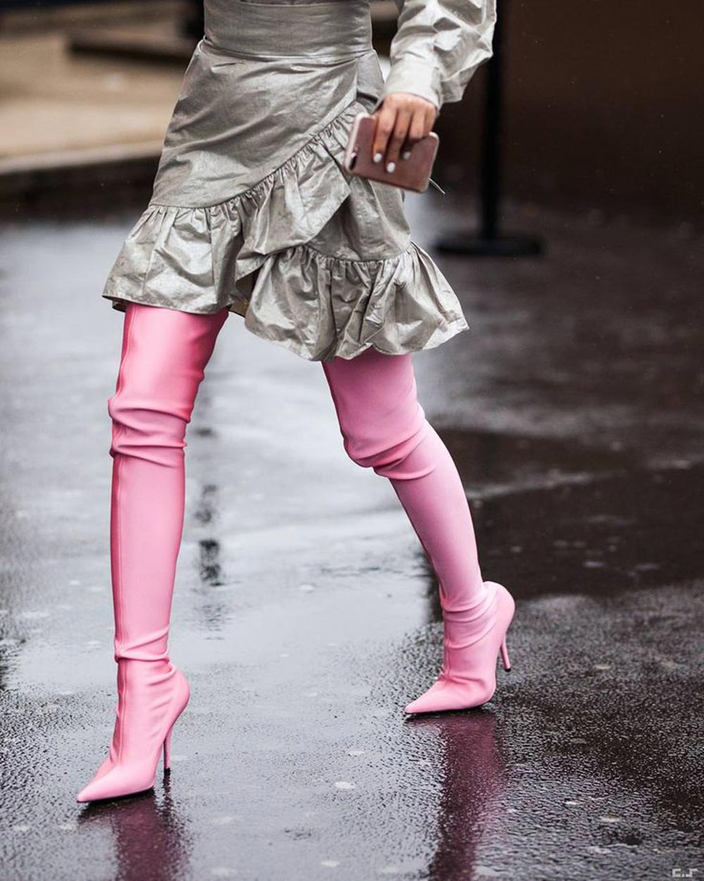 Balenciaga 'Knife' Sock Boots Pink Thigh-High