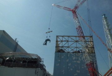 Status of iron frame construction for the reactor building cover of Unit 1 at Fukushima Daiichi Nuclear Power Station