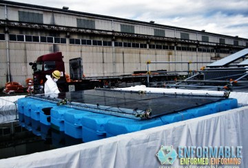 Picture of mock-up test for covering Spent Fuel Pool to remove debris on the roof of Reactor Building at Unit 4, Fukushima Daiichi Nuclear Power Station