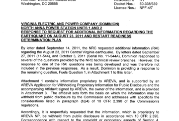 Enformable North Anna Power Station, Units 1 & 2 - Response to Request for Additional Information Regarding The Earthquake on August 23, 2011 and Restart Readiness Determination Plana_Page_01-768