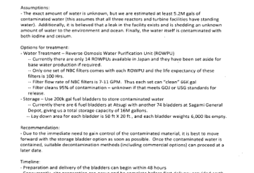 March 29th, 2011 - Point Paper on Contaminated Water at Fukushima Plant