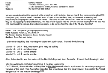 March 22nd, 2011 - Details on source of white smoke from unit 2 - Suspect some torus damage