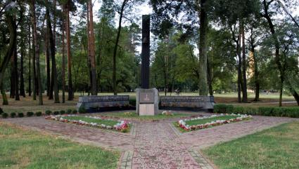 The memorial in Slavutich to remember those who died responding to the Chernobyl nuclear disaster.