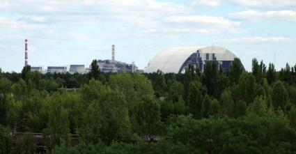 A view of the Chernobyl nuclear power plant from the rooftops of Pripyat.