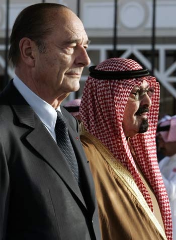 King Abdullah and President Chirac hold meeting