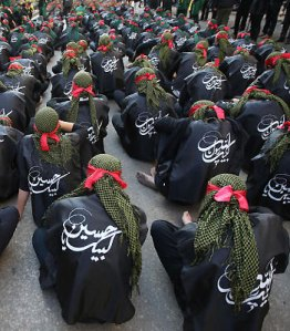 Hezbollah militants performing a parade