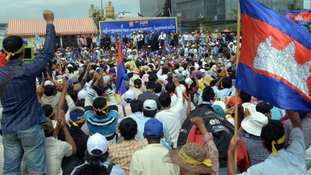 Cambodian demonstrators march as election crisis deepens