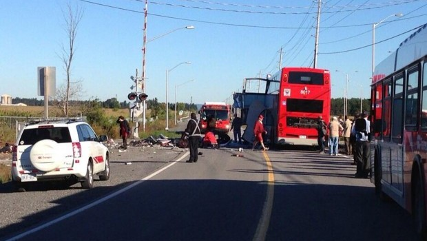 Canada passenger train collides with bus in capital, five dead