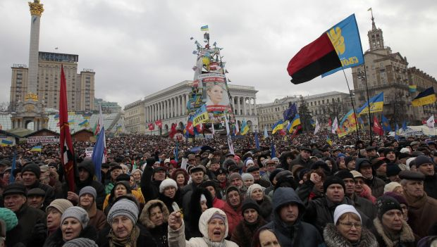 Ukraine protest smaller, but still visible
