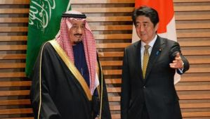 Saudi Arabian Crown Prince Salman Bin Abdulaziz, left, is greeted by Japanese Prime Minister Shinzo Abe for their talks at the prime minister's official residence in Tokyo on February 19, 2014. (AFP Photo/Pool/Yoshikazu Tsuno)