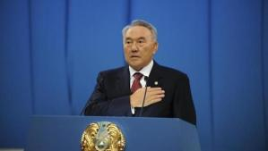Kazakhstan's President Nursultan Nazarbayev speaks during his yearly state of the nation address in Astana on December 14, 2012. (REUTERS/MUKHTAR KHOLDORBEKOV)