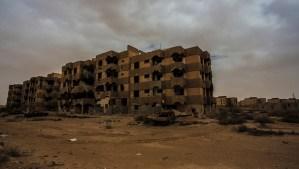An abandoned settlement in Tawargha, Libya. (Asharq Al-Awsat/Hannah Lucinda Smith)