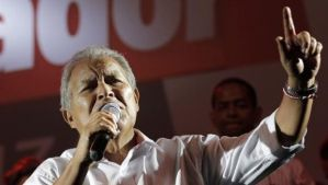 Salvador Sanchez Ceren, the presidential candidate for the Farabundo Marti National Liberation Front (FMLN), gives a speech to his supporters, after the official election results were released, in San Salvador, El Salvador, on March 9, 2014. (Reuters/Henry Romero)