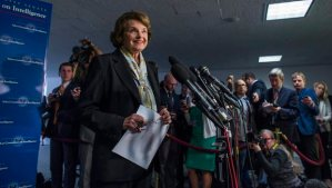 Democratic Senator from California, Dianne Feinstein, speaks to the media after a Senate Intelligence Meeting where members voted to support the declassification of key findings of a 6,300-page report detailing the CIA's controversial interrogation program, in the Hart Senate Office Building in Washington DC, USA, 03 April 2014. EPA/JIM LO SCALZO