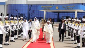 President of Sudan Omar al-Bashir (C-R) walks with Emir of Qatar, Sheikh Tamim bin Hamad Al-Thani (C-L) ahead of the latter's departure at Khartoum airport on April 2, 2104. Qatar's emir visited Sudan at a time of strained ties with his country's Gulf neighbours over its perceived support for the Egypt-based Muslim Brotherhood. AFP PHOTO / ASHRAF SHAZLY