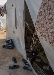 Syrian refugees in Marea. (Asharq Al-Awsat/Hannah Lucinda Smith)