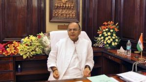 India's new finance minister, Arun Jaitley, in his office at the finance ministry in New Delhi on May 27, 2014. (REUTERS/Stringer)