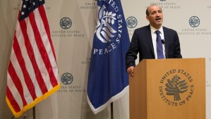 Ahmed Jarba, president of the National Coalition for Syrian Revolutionary and Opposition Forces, speaks at the US Institute of Peace on May 7, 2014, in Washington, DC. (AP Photo/ Evan Vucci)