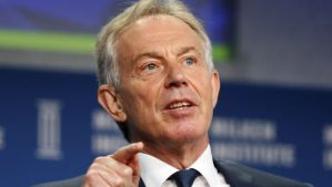 Former British Prime Minister Tony Blair speaks at the 2014 Milken Institute Global Conference in Beverly Hills, California April 28, 2014. (REUTERS/Lucy Nicholson)