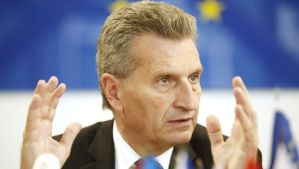 EU Commissioner for Energy Güenther Oettinger during a press conference on June 16, 2014, in Vienna. (AFP PHOTO/DIETER NAGL)