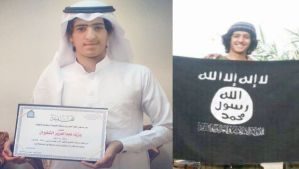 Yazid Al-Shaqeran holds his secondary school diploma, at left, and the flag of the Islamic State of Iraq and Syria, at right.