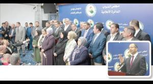 Group of protesting Iraqi lawmakers answering reporters' questions on Thursday.jpg
