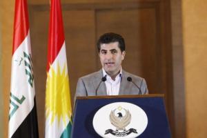 Iraq's Kurdistan Prime Minister Nechirvan Barzani speaks to the media after voting in Arbil