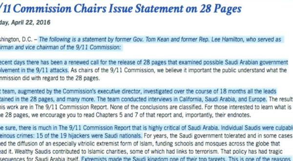 9/11 Commission's Former Leaders Refute Saudi Involvement in the Attacks