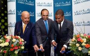 Asim Mirza Al Rahmah, Majid Saif Al Ghurair and Ernesto Max Tonela at the opening. Dubai Chamber