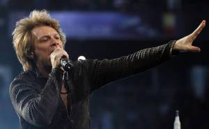 Jon Bon Jovi performs at a concert at the TD Garden in Boston, Massachusetts.