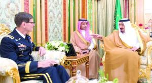 King Salman during his meeting with the Commander of U.S. Central Command Joseph Votel in Jeddah on Wednesday