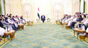 President Hadi Mansour in a meeting with representatives for Tihamah citizens