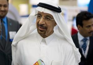Khalid al-Falih speaks to the media during Petrotech 2014 in Manama