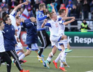 Faroe Islands, here celebrating a Euro 2016 qualifying victory over Greece in June 2015, will have their best-ever chance of making a European Championship final under the new format.