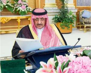 Crown Prince Mohammed bin Nayef bin Abdulaziz Al Saud chairing Cabinet's session in Jeddah on Monday. SPA