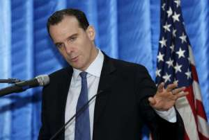 Brett McGurk, the United States' new envoy to the coalition it leads against Islamic State, speaks to reporters during a news conference at the U.S. embassy in the heavily fortified Green Zone in Baghdad, Iraq, December 9, 2015.