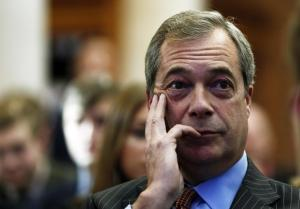 The leader of the United Kingdom Independence Party (UKIP) Nigel Farage listens during a Leave.EU campaign news conference in central London