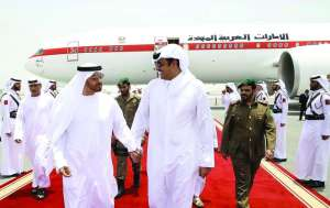 Emir H H Sheikh Tamim bin Hamad Al Thani welcomes the Crown Prince of Abu Dhabi and Deputy Supreme Commander of the Armed Forces of the UAE, Sheikh Mohammed bin Zayed Al Nahyan, and his delegation at Doha International A