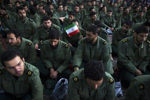Members of the revolutionary guard attend the anniversary ceremony of Iran's Islamic Revolution at the Khomeini